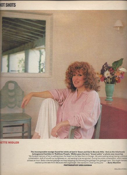 Photo: Bette Midler In Rolling Stone Right Before Her Comeback In Down And Out In Beverly Hills