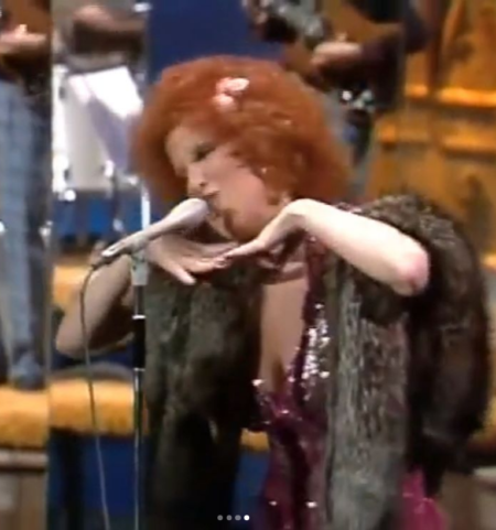 "Photo: Bette Midler Singing ""Lullaby Of Broadway"" On Johnny Carson in 1972 or '73. I watched this at my college dorm with 3 other guys. Don"