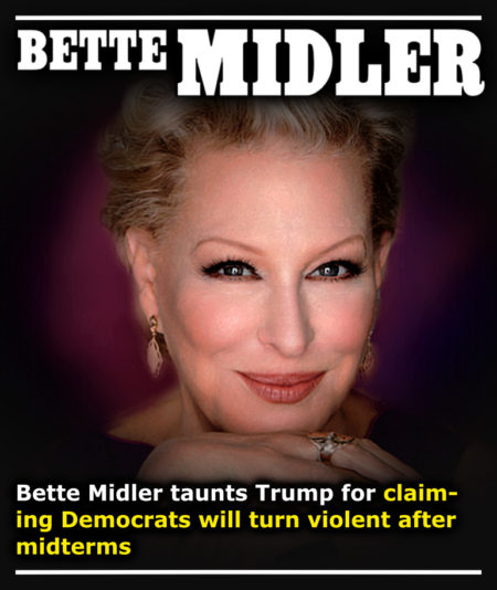 Bette Midler Taunts Donald Trump For Claiming Democrats Will Turn Violent After Midterms