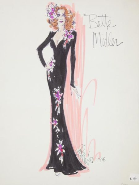 A marker on paper illustration of Bette Midler in the gown she wore to the 1975 GRAMMY Awards designed by Bob Mackie and signed in marker by Mackie.