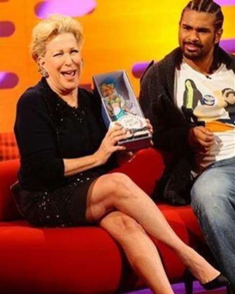 Bette Midler on the Graham Norton Show displaying my Delores Doll