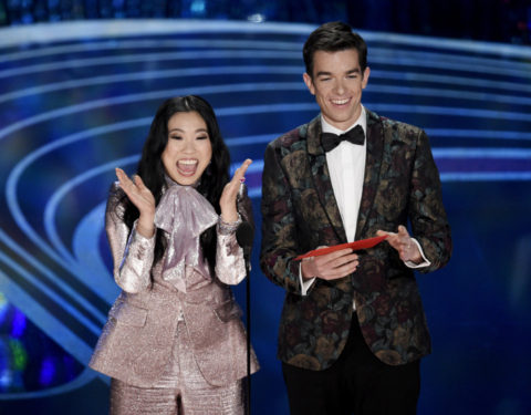 Oscars 2019: Awkwafina, left, and John Mulaney
