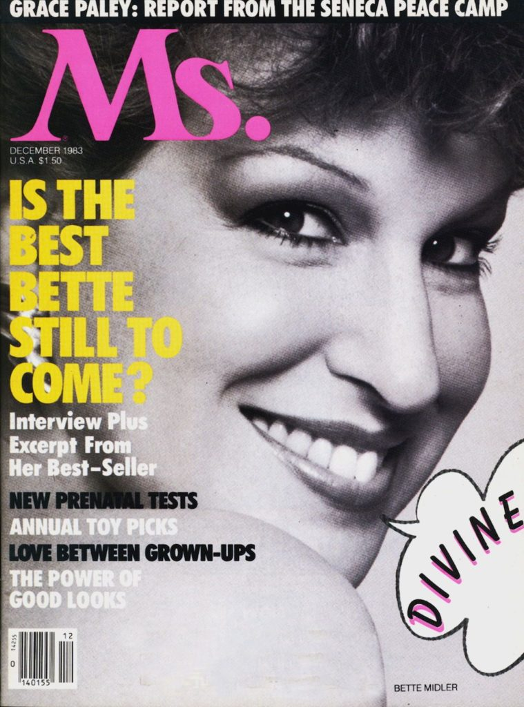 Bette Midler on the cover of Gloria's Ms Magazine