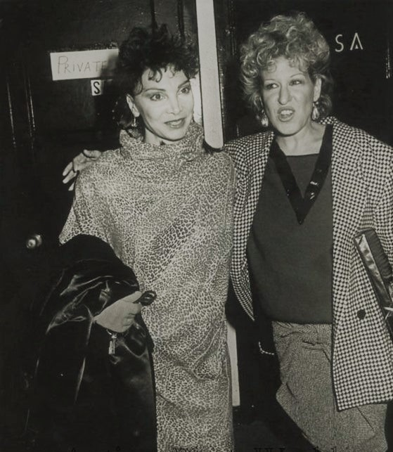 Bette Midler and Toni Basil at  the premiere of Bette's video, 'Beast of Burden'  Toni Basil choreographed it.