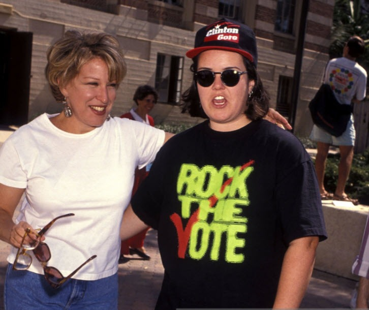 Bette Midler and Rosie O'Donnell campaigning for Clinton/Gore